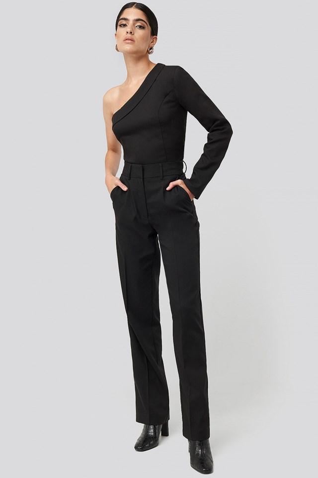 One Shoulder Shirt Black Outfit