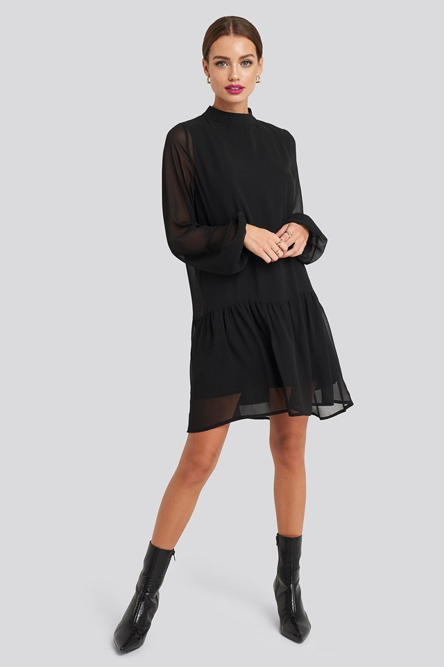High Neck Balloon Sleeve Mini Dress Black Outfit