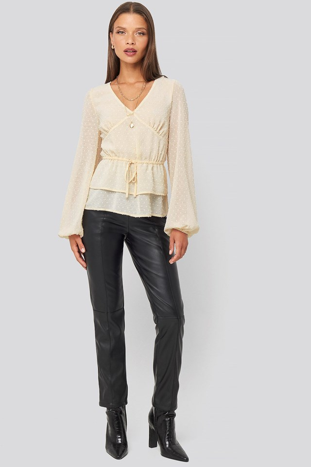Flounce Dotted Blouse White Outfit