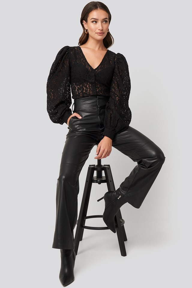 Volume Puffy Sleeve Lace Blouse Black Outfit