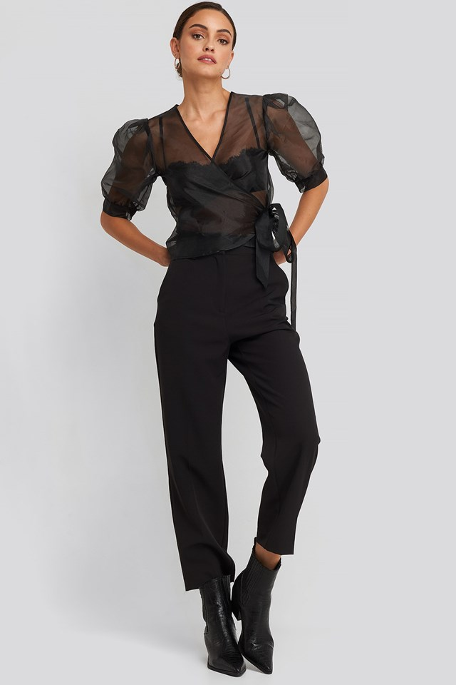 Overlap Organza Top Black Outfit