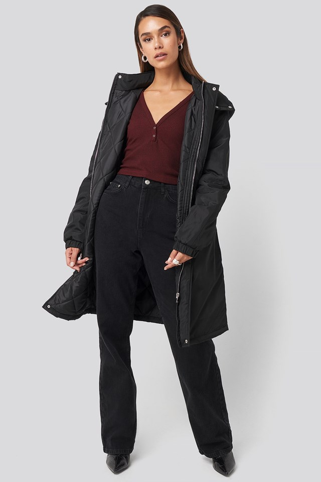 Drawstring Parka Black Outfit