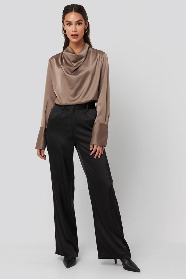 Cowl Neck Satin Blouse Black Outfit