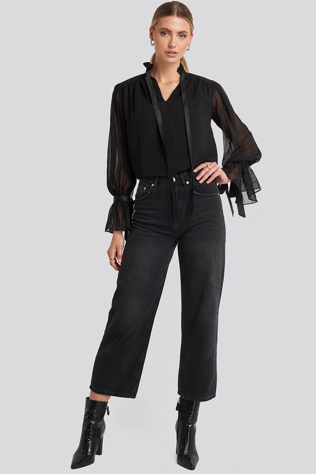 Ribbon Detailed Blouse Black Outfit