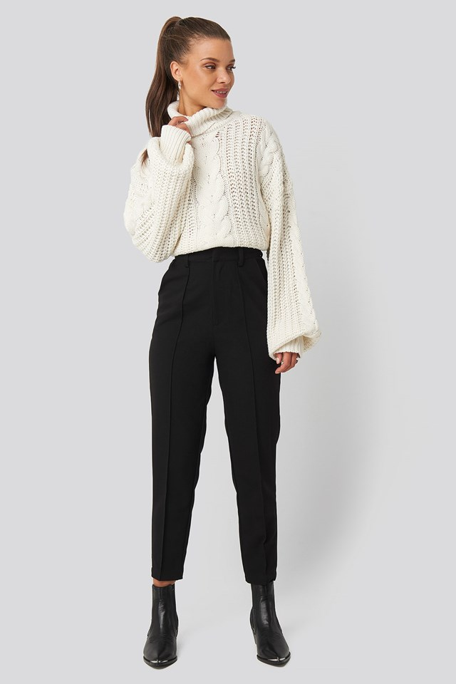 Chunky Cable Knit Sweater White Outfit