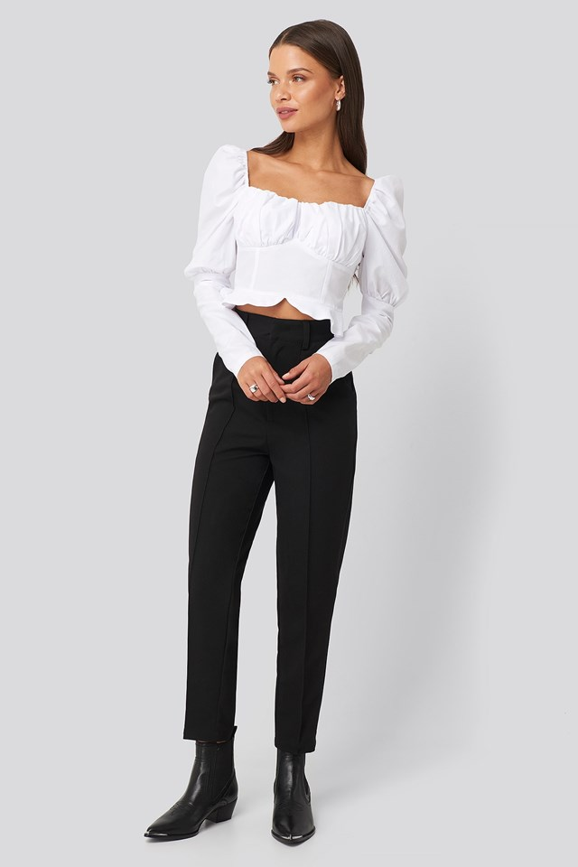 Puffy Sleeve Ruffle Cup Blouse White Outfit