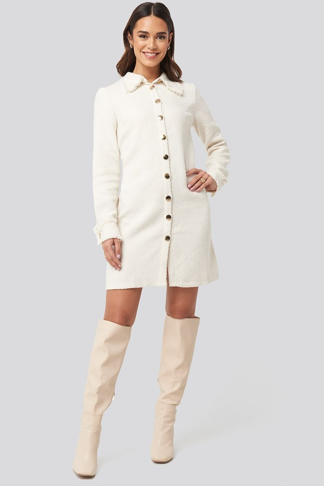 Buttoned Jacket Mini Dress White Outfit