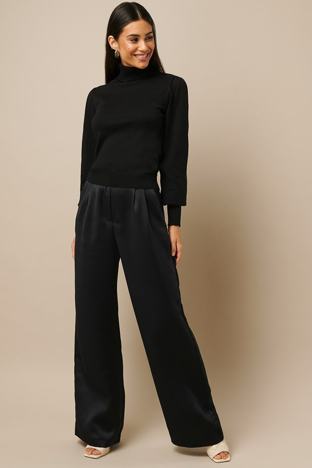 High Waist Flowy Pants Black Outfit