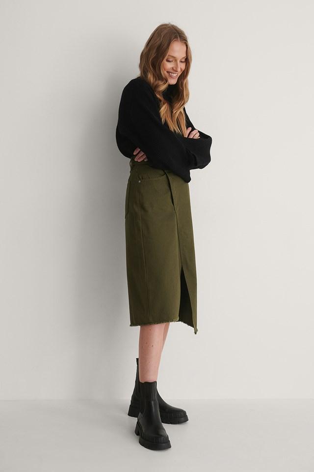 Asymmetic Denim Skirt Outfit.