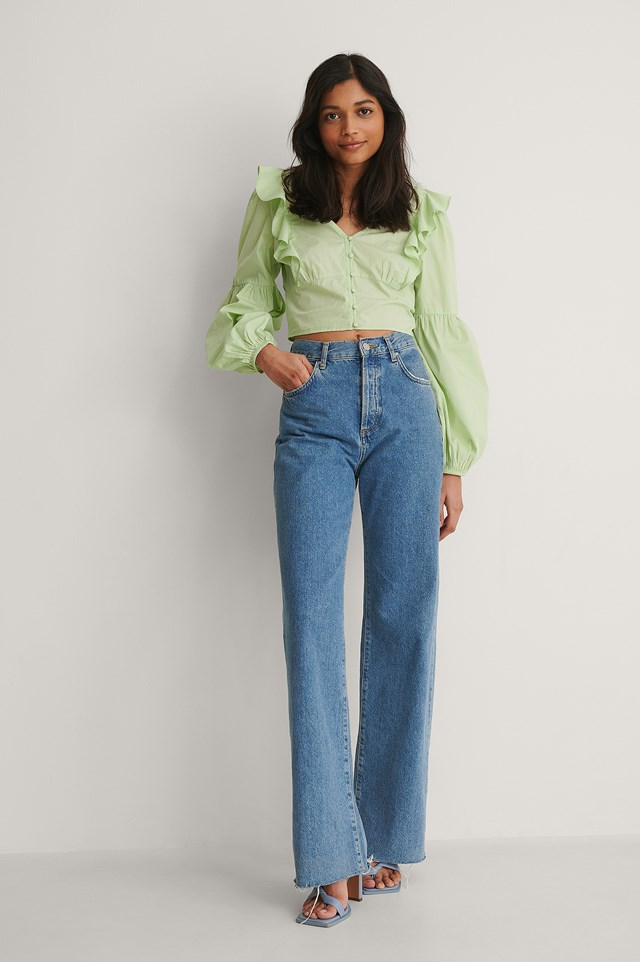 NA-KD Buttoned Cotton Frill Blouse Outfit