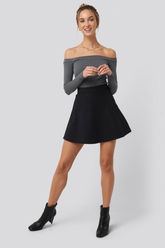 High Waist Skater Mini Skirt Outfit
