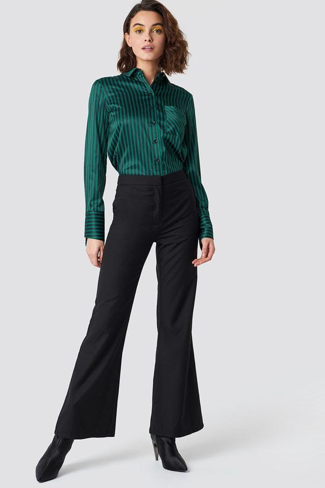 Elegant Flared Pants with Button Up Shirt