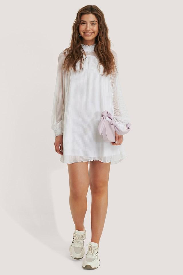 Pleated Frill Neck Dress