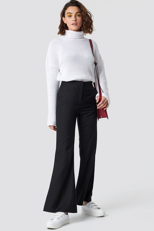 Casual Flared Pants and Polo Knit Outfit