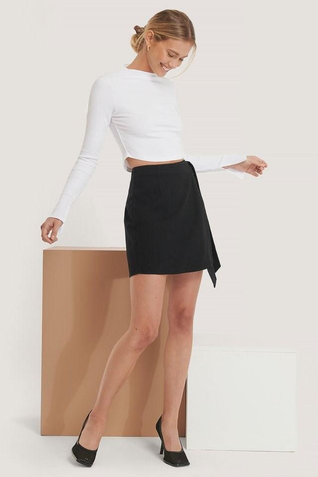 Tie Belt Overlapped Mini Skirt