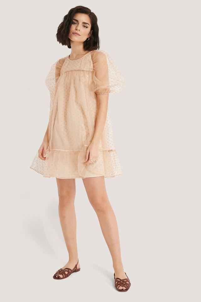 Dobby Organza Mini Dress