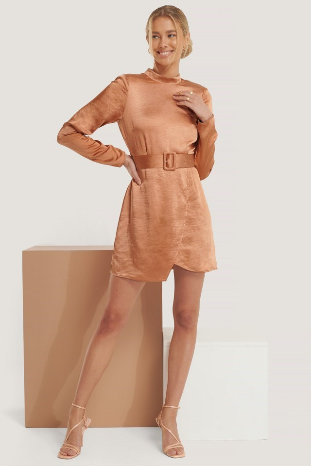 High Neck Satin Dress