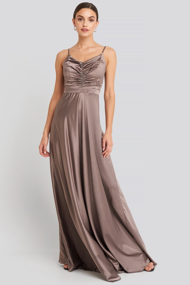 Neckline Detailed Evening Dress