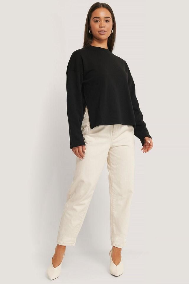 Basic Wide Side Slit Sweater