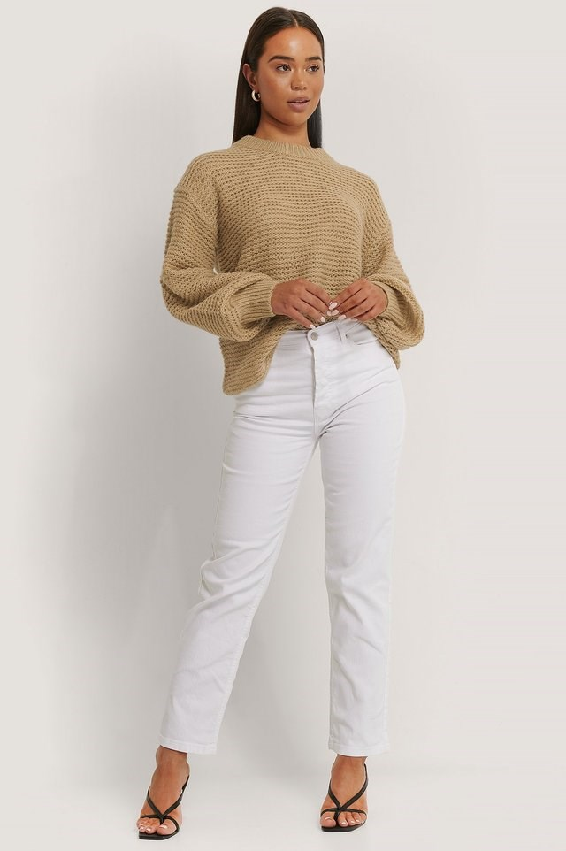 Knitted Balloon Sleeve Sweater