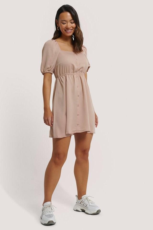 Square Neck Buttoned Mini Dress