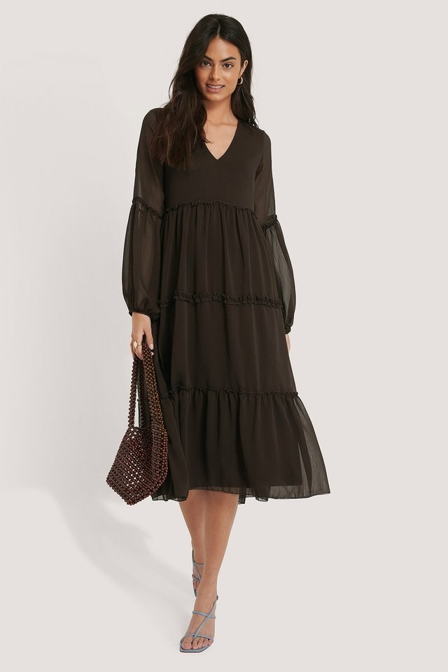Pleated Detail Flounce Dress