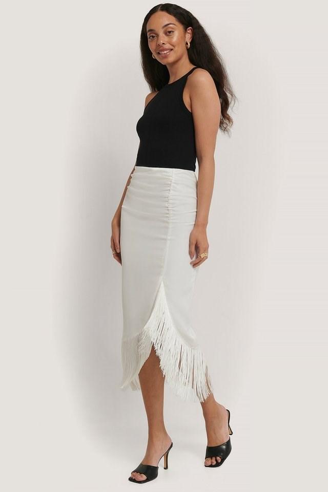 Frilled Satin Skirt