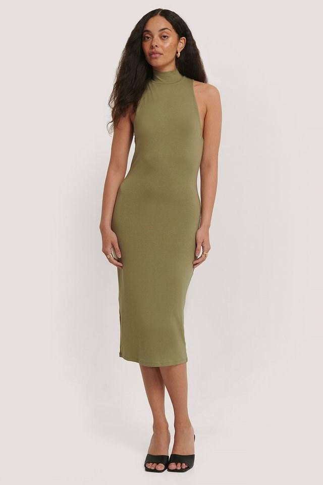 Back Twist Jersey Dress