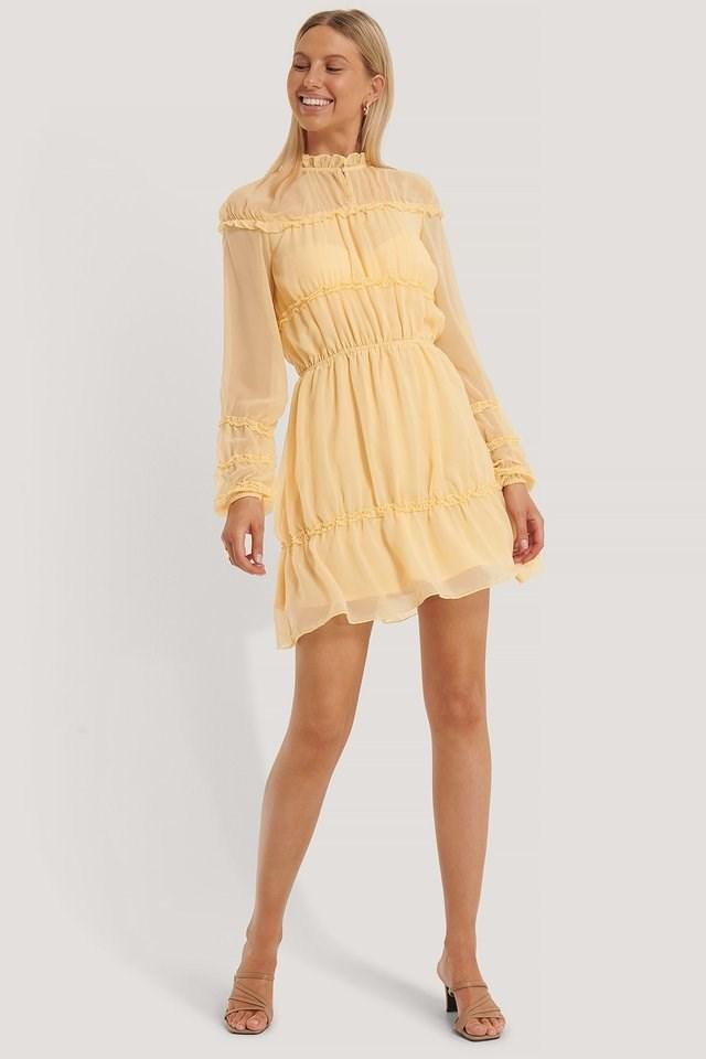 Frill Detail LS Mini Dress