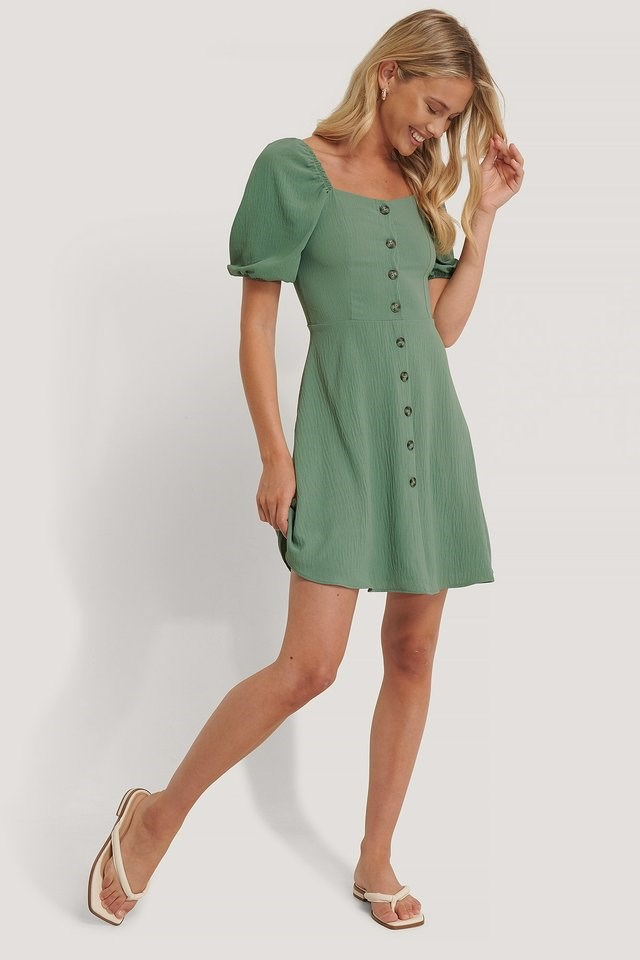 Carmen Puff Sleeve Mini Dress