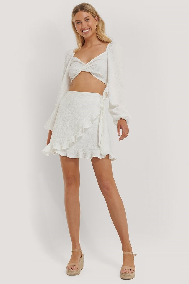 Flounce Tied Side Mini Skirt