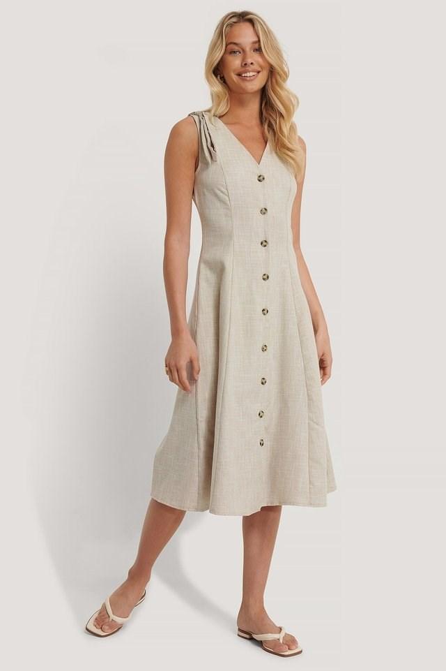 Ribbon Detail Midi Dress