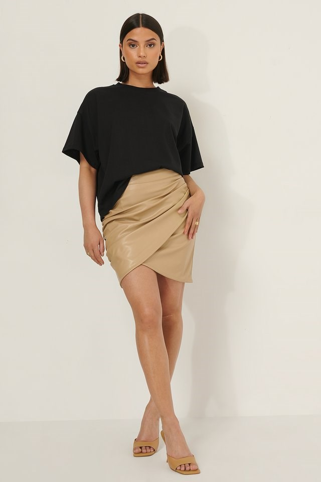 Overlap PU Mini Skirt
