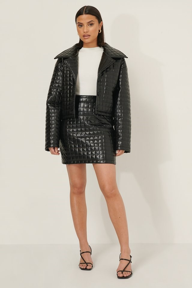Black Quilted Mini Skirt