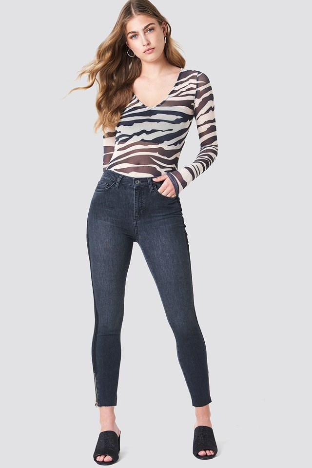 High Waisted Zip Jeans Outfit