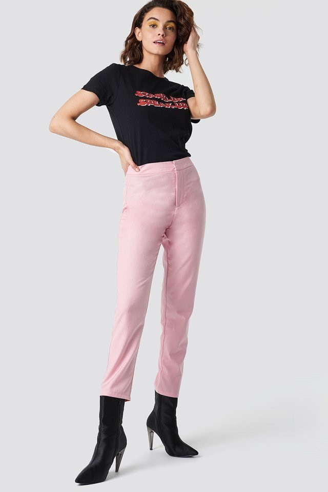 Pink Pants and Statement T-Shirt Outfit