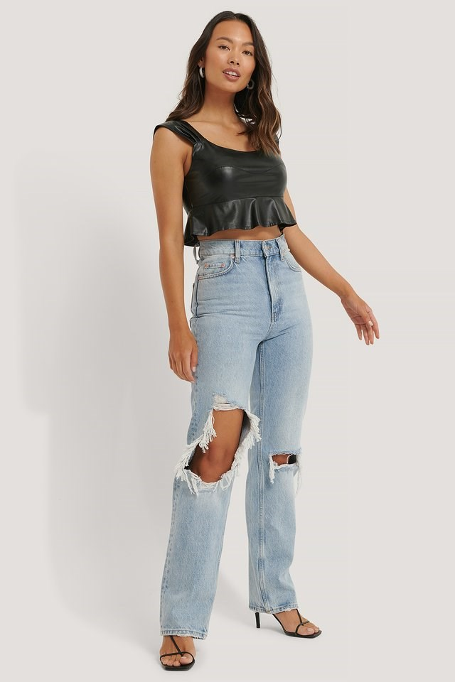 PU Frilled Cropped Top