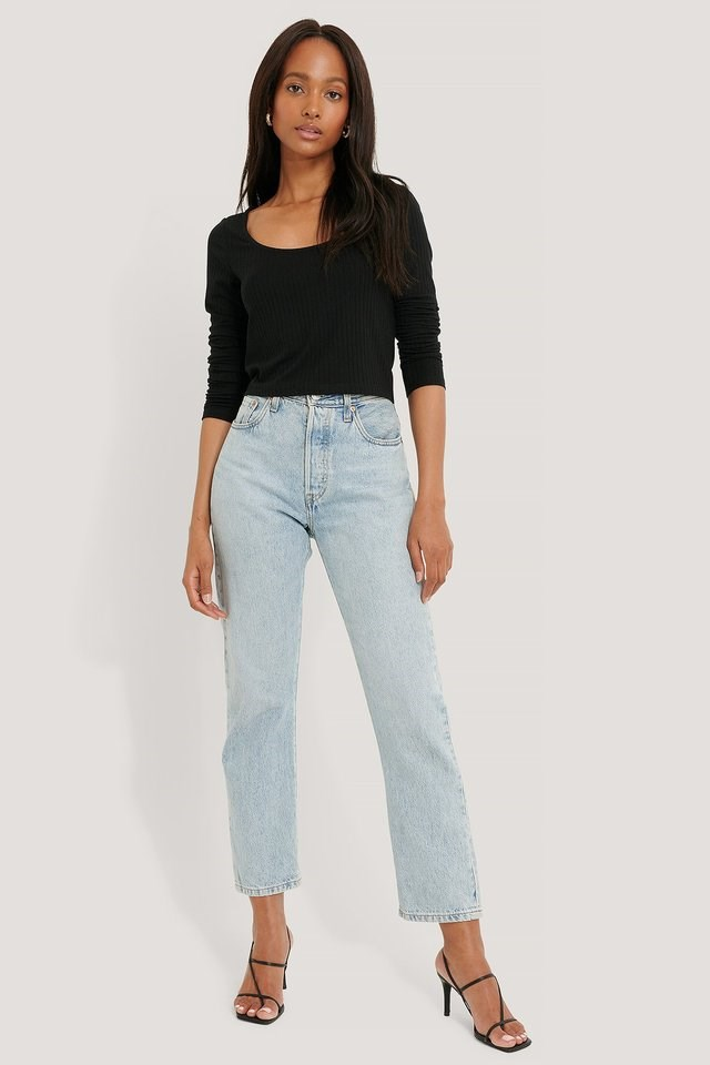 Ribbed Long Sleeve Cropped Top