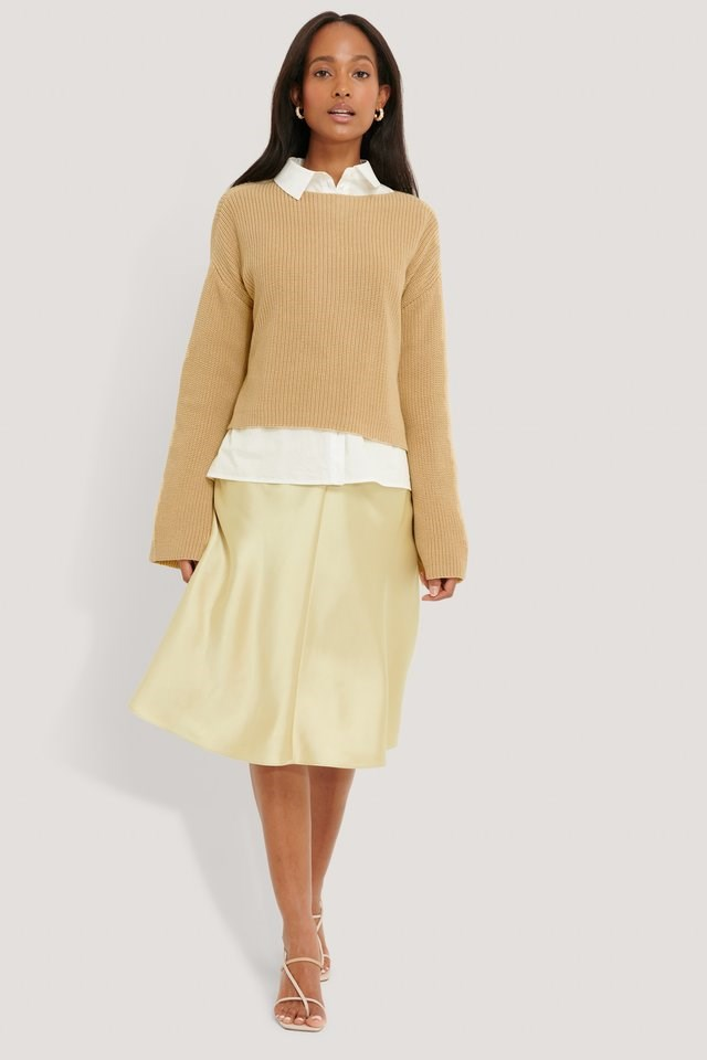 BEIGE KNITTED LONG SWEATER