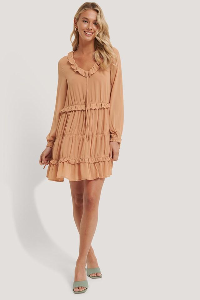 Multi Frill Flowy Mini Dress Outfit