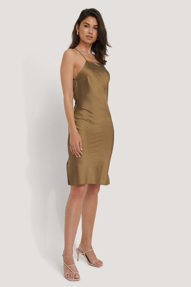 High Neck Strap Mini Dress