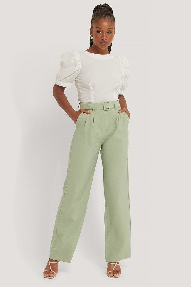 Belted Suit Pants Outfit