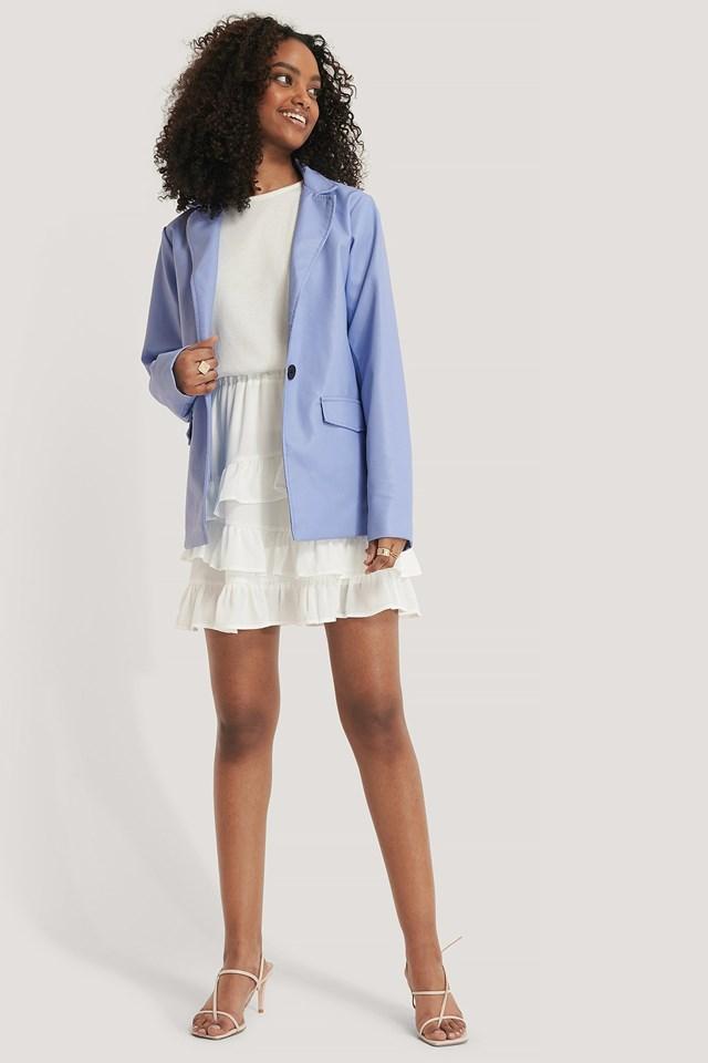 Flounce Panel Mini Skirt Outfit