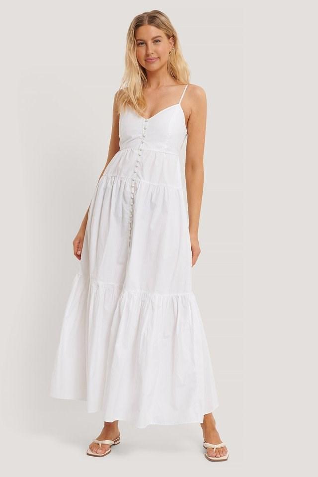 WHITE STRAP BUTTONED COTTON DRESS