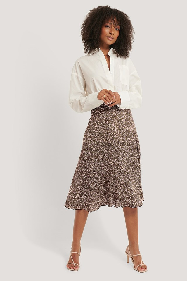 Flower Printed Skirt Outfit