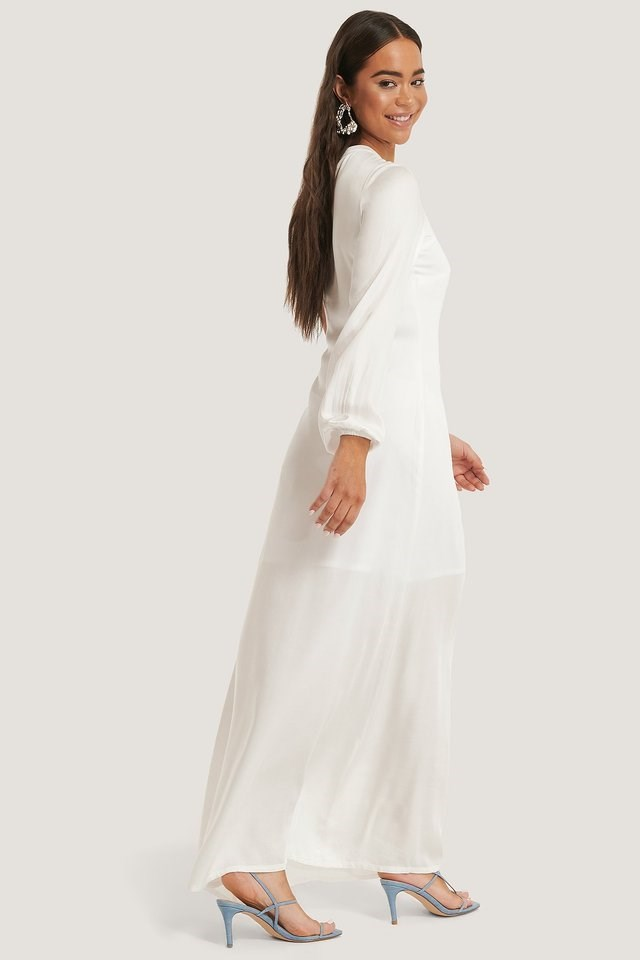 WHITE ONE SLEEVE MAXI DRESS