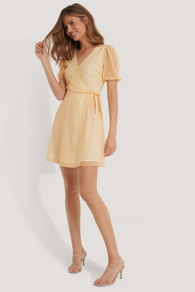 Check Overlap Dress Outfit