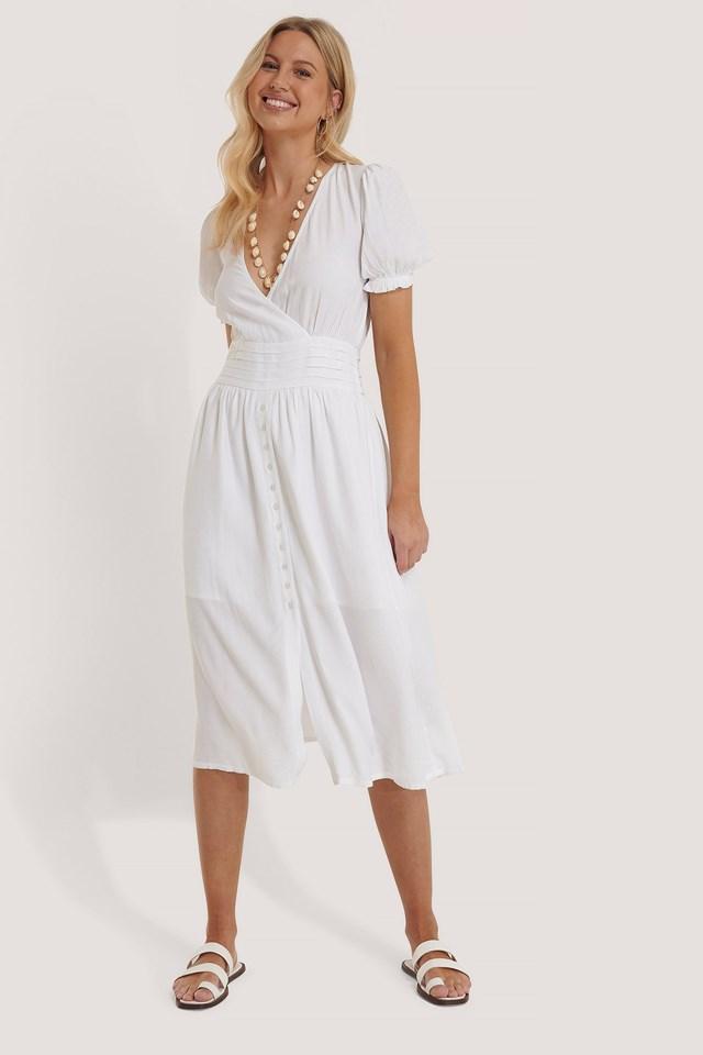 Pleated Waist Viscose Dress Outfit