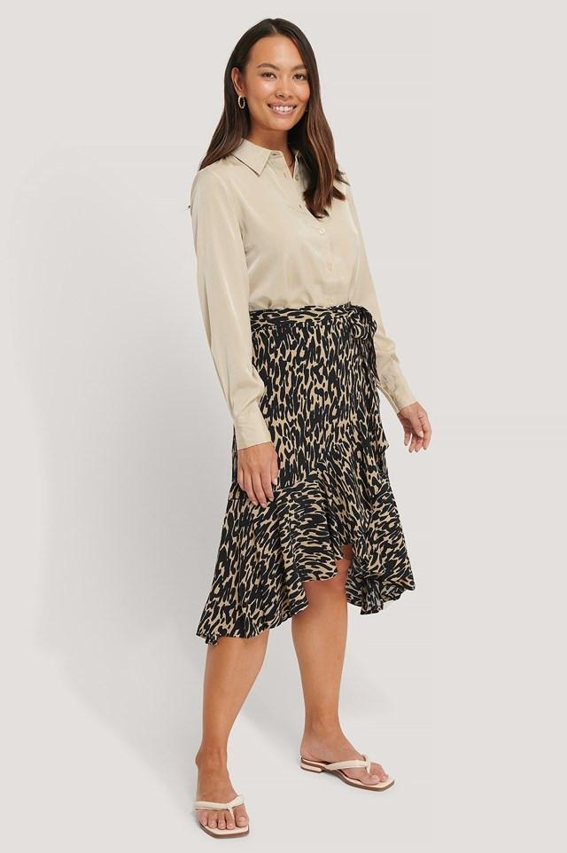 Wrap Flounce skirt Outfit