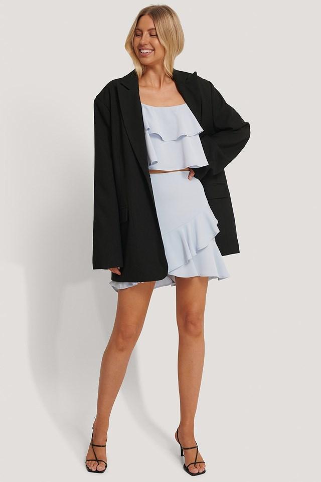 Flounce Mini Skirt Outfit